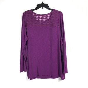 Lane Bryant Purple long sleeve Sheer detail top